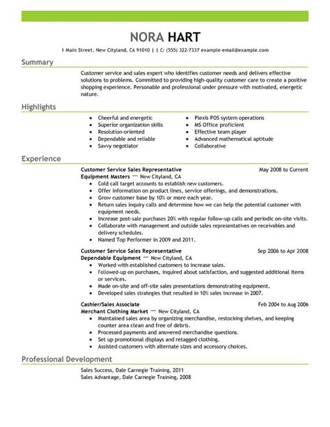 summary sle resume customer service representatives sales with green header