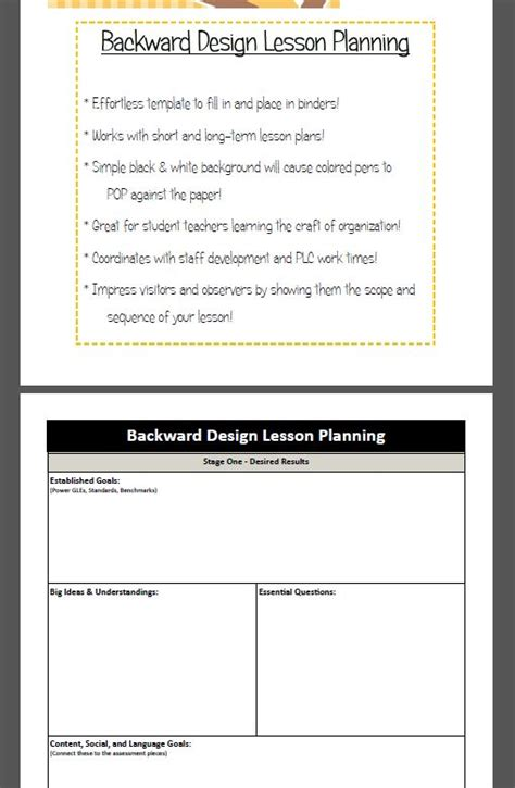 backwards design template backward design lesson plan template models student