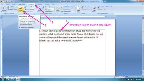 cara untuk membuat catatan kaki cara mudah membuat footnote atau catatan kaki di word 2007
