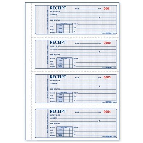 rent receipt books template rediform rent receipt book quickship