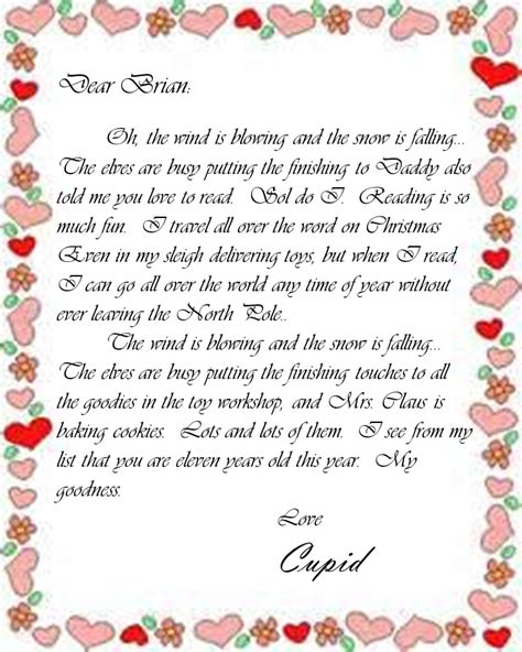 valentines letter for letters from cupid