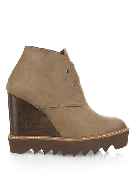stella mccartney leana lace up faux suede wedge boots in