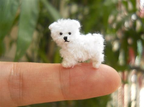 minature dogs maltese puppy tiny crochet miniature stuffed animals