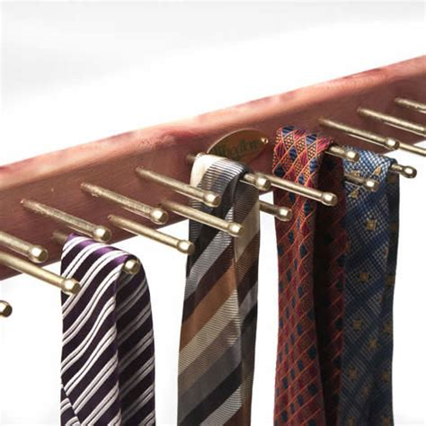 Woodlore Tie Rack by Wall Mounted Tie Hanger For 24 Ties Provides Fresh Scent