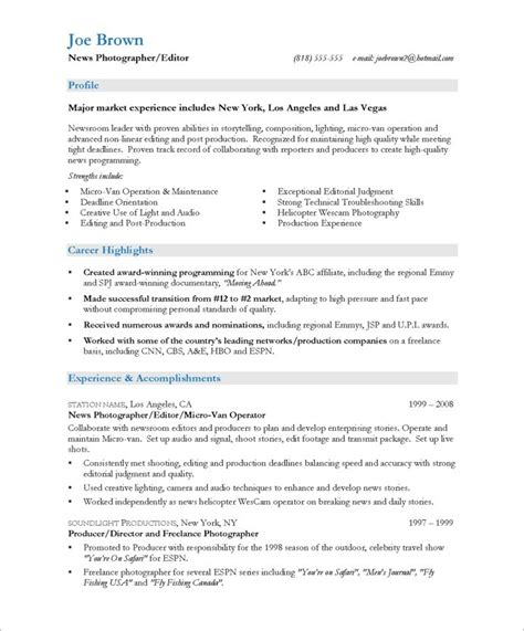 cameraman resume format tv news photographer free resume sles blue sky resumes