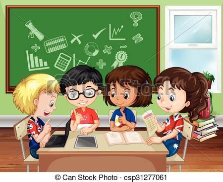 imagenes niños trabajando en la escuela clip art de vectores de aula grupo ni 241 os trabajando