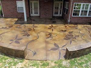 an acid stained concrete patio the vines were inspired by