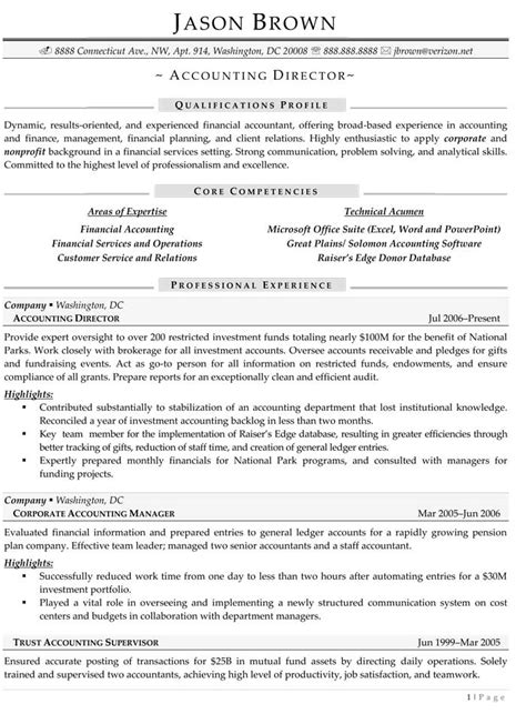 Resume Sles For Accounting Corporate Accountant Resume