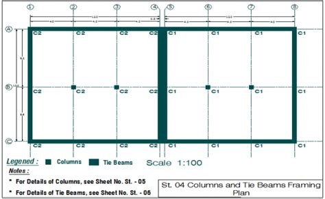 layout plan view beam and column plan layout view detail dwg file