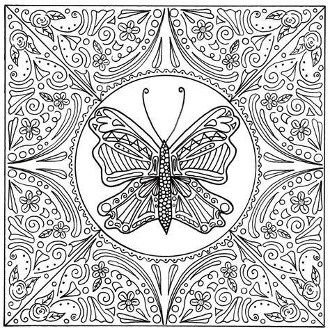 butterfly lace mandala adult coloring page butterfly