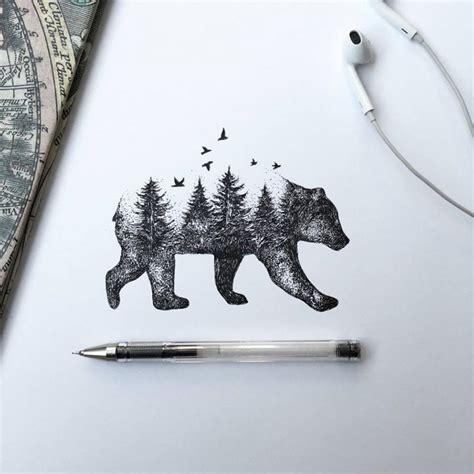 bear tree tattoo pen ink animal illustrations by italian artist alfred