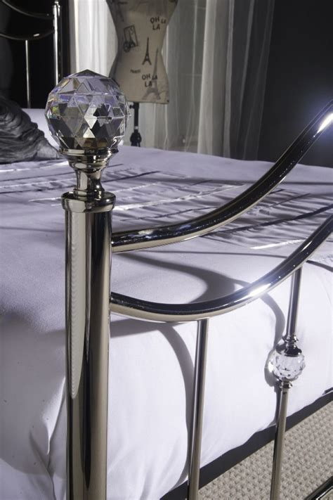 chrome bed frame limelight cygnus 5ft kingsize chrome metal bed frame with crystals by limelight beds