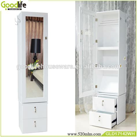 length wooden rotating mirror jewelry cabinet with