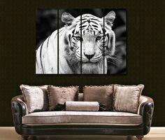 white tiger portrait modern decorative wall clock on