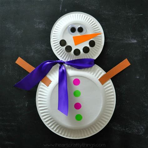 Snowman Paper Plate Craft - paper plate snowman craft i crafty things