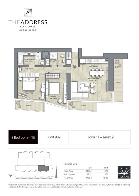 the address residence dubai opera tower 1 floor plans