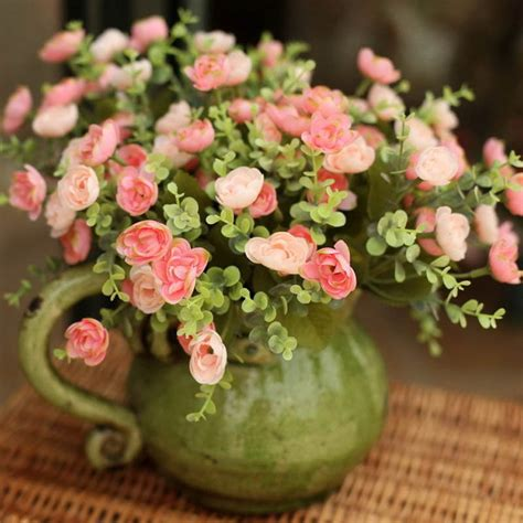 Flower Decorations For Home 5pcs Fresh Pink Tea High Artificial Flower Home Decoration Flower Fashion Dried Flowers