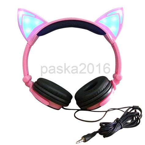 light up cat ear headphones novelty travel cat ear headphone with light up