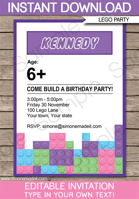 friends card templates free lego friends invitations birthday template