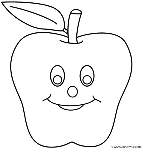 smiling apple coloring page back to