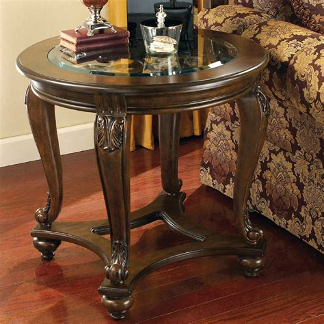ashley furniture accent tables signature design by ashley norcastle round end table with
