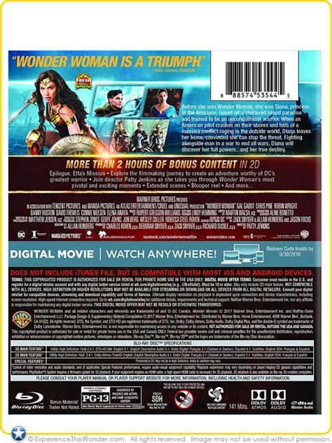 film blu ray 3d 4k warner bros entertainment dc comics wonder woman movie