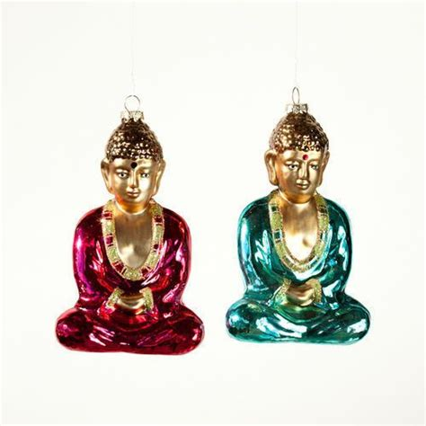 blissful buddha eastern religion glass christmas ornament