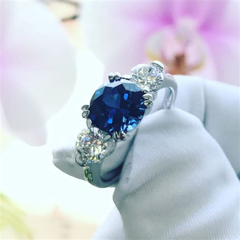 Blue Sapphire 8 2ct 8mm silver 2ct simulated blue sapphire 3 wedding