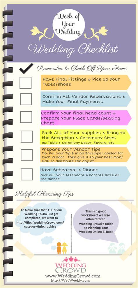 Wedding Checklist One Week by Wedding Planner Wedding Checklist One Week To Go