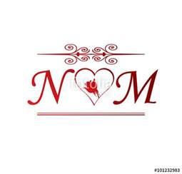 quot nm love initial with red heart and rose quot stock image and