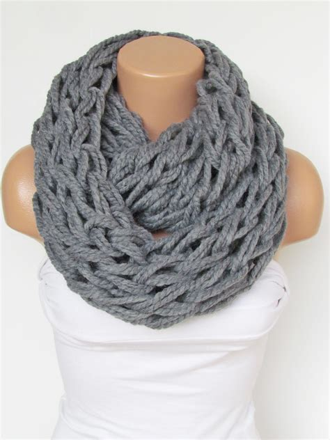 infinity gray scarf neckwarmer knitted scarf circle loop