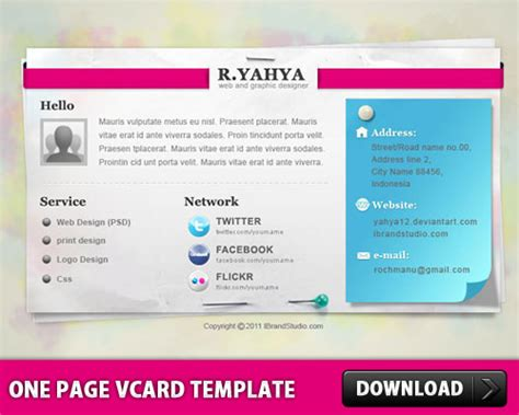Photoshop Cc One Page Card Template by One Page Vcard Template L Freepsd Cc Free Psd Files