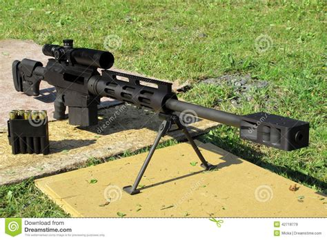 50 Bmg Sniper by Sniper Rifle Caliber 50 Bmg In Front Stock Photo Image