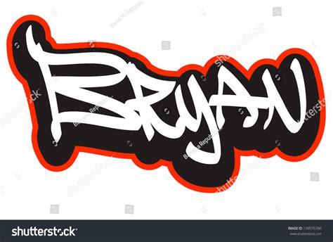 doodle name bryan bryan graffiti font style name hiphop stock vector
