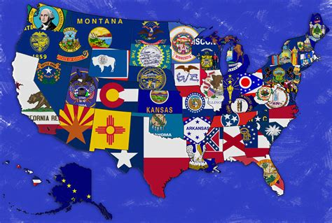 usa map states flags united states of america states capitals it all