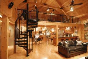 log home interiors modern log home interior spiral staircase to loft