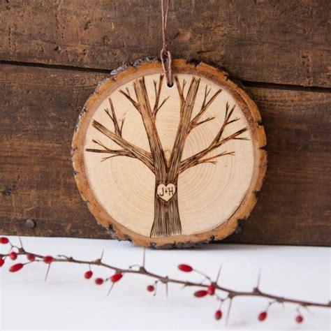 Custom Wood Ornaments - wood burned initials on single tree personalized