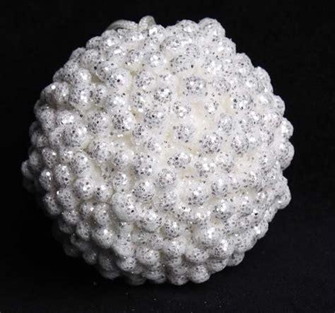 3 quot white glitter snowball ornament christmas ornaments