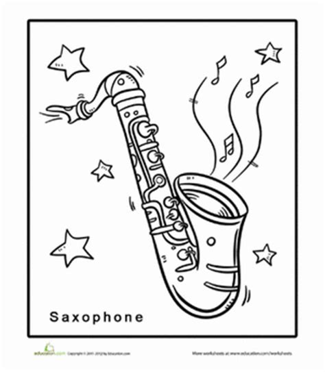 saxophone coloring page worksheet education com