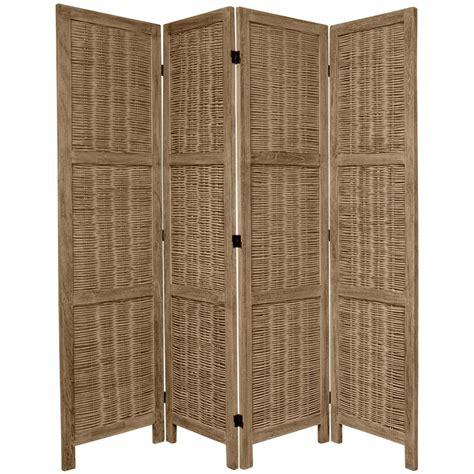 Oriental Furniture 6 Ft Burnt Grey Matchstick 4 Panel Room Divider Furniture
