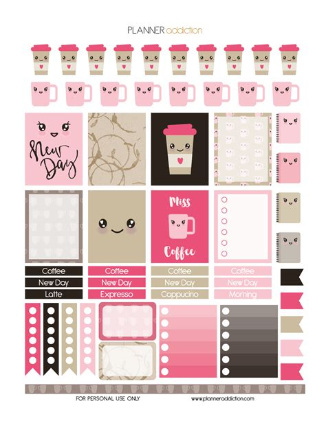 coffee planner stickers printable coffee kawaii planner addiction