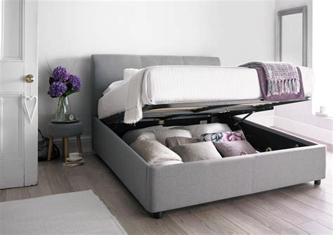 king size bed serenity upholstered ottoman storage bed cool grey