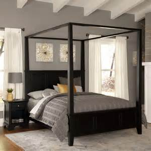 Canopy Bed Bedroom Set Bedroom Furniture Bedford Black King Canopy And Poster
