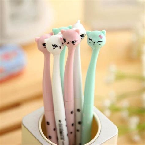 4 Pcs Lovely Cat Gel Pen 0 5mm kawaii pen shop