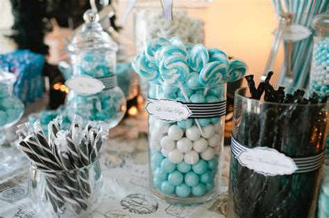 party themes with blue candy table paris theme tiffany blue white and black