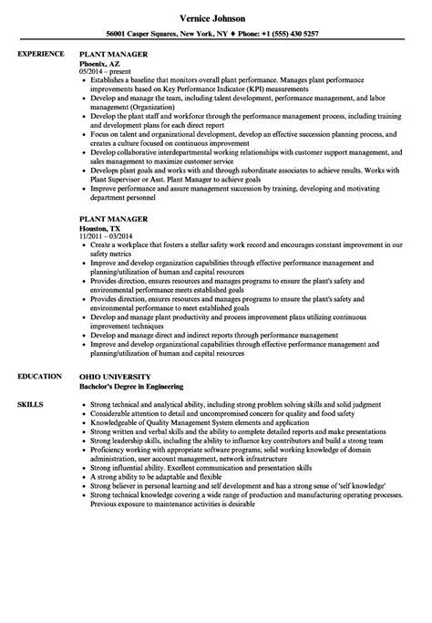 Plant Manager Resume by Plant Manager Resume Sles Velvet