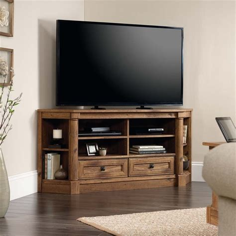 corner entertainment cabinet sauder palladia corner tv stand in vintage oak 420714