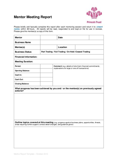 mentoring application templates mentor meeting report template