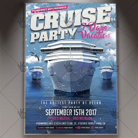 Cruise Party Premium Flyer Psd Template Psdmarket Free Boat Flyer Template
