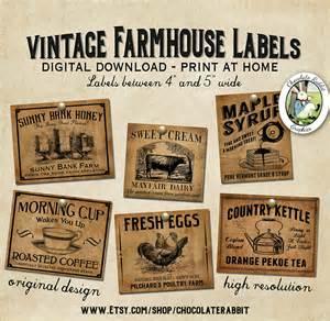 vintage country farmhouse primitive prim labels digital
